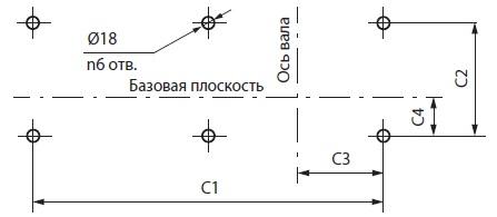 Схема расположения отверстий под фундаментные болты